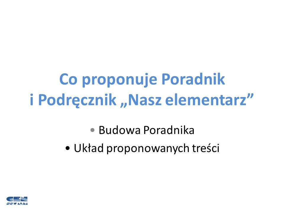 "Co proponuje Poradnik i Podręcznik ""Nasz elementarz"