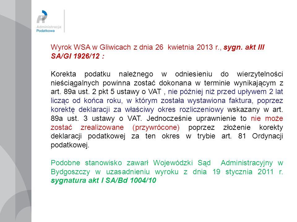 Wyrok WSA w Gliwicach z dnia 26 kwietnia 2013 r. , sygn