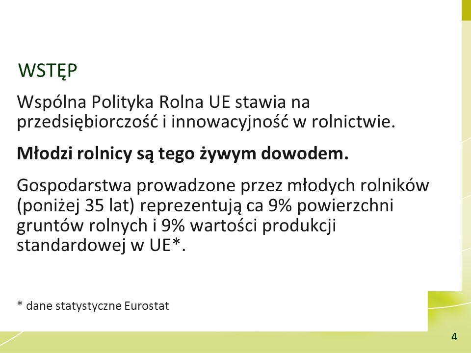 WSTĘP Wspólna Polityka Rolna UE stawia na przedsiębiorczość i innowacyjność w rolnictwie. Młodzi rolnicy są tego żywym dowodem.
