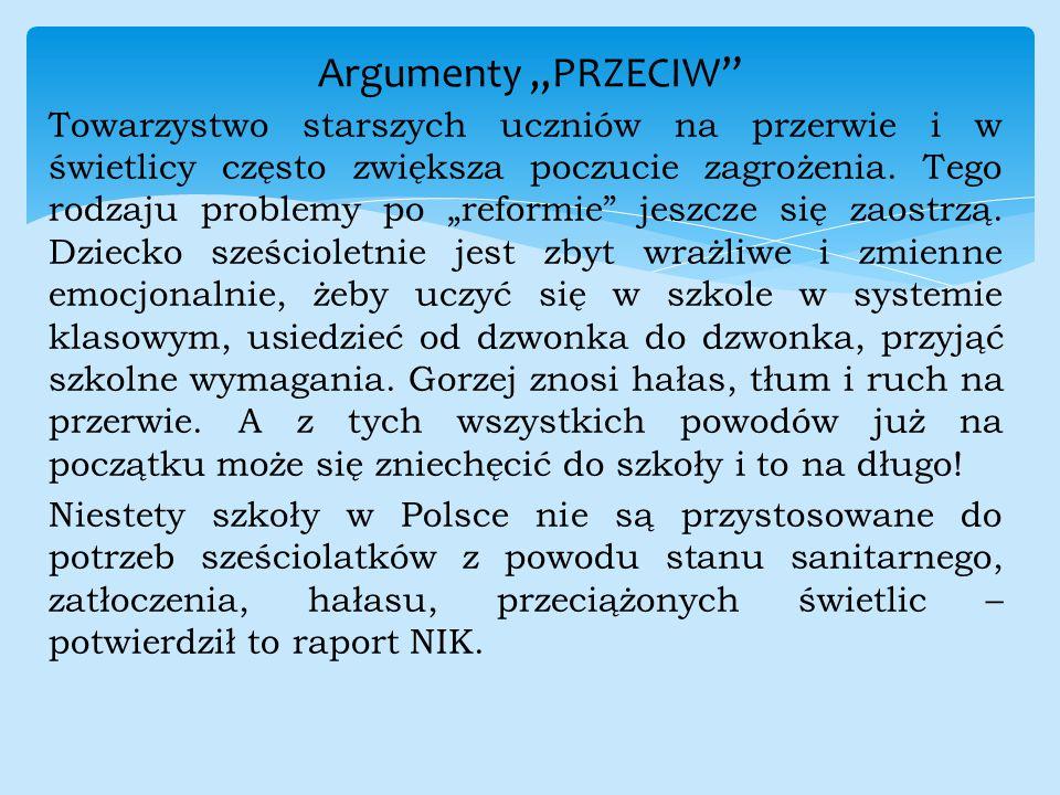 """Argumenty """"PRZECIW"""