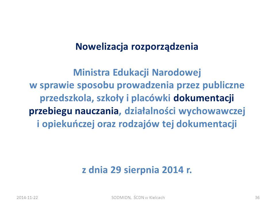 Nowelizacja rozporządzenia Ministra Edukacji Narodowej