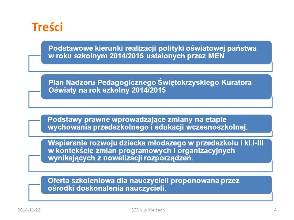Treści Podstawowe kierunki realizacji polityki oświatowej państwa w roku szkolnym 2014/2015 ustalonych przez MEN.