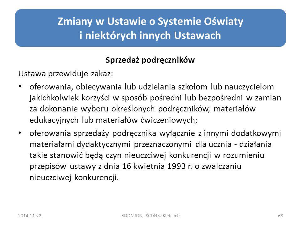Zmiany w Ustawie o Systemie Oświaty i niektórych innych Ustawach