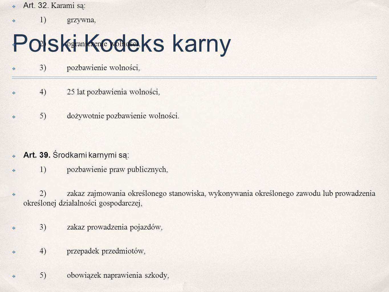 Polski Kodeks karny Art. 32. Karami są: 1) grzywna,