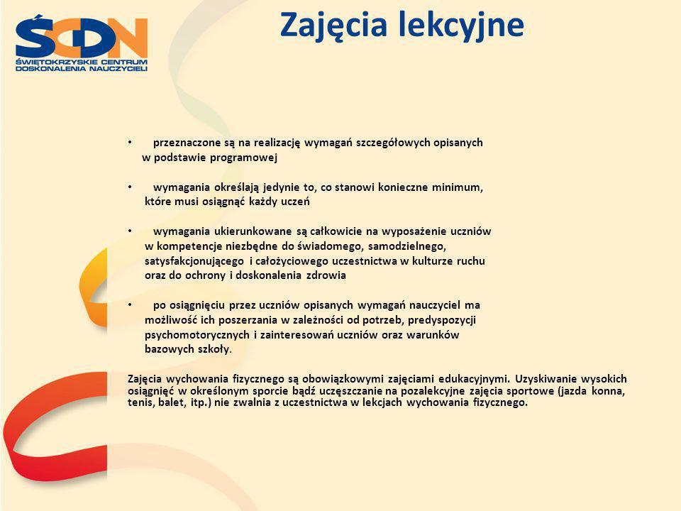 Zajęcia lekcyjne przeznaczone są na realizację wymagań szczegółowych opisanych. w podstawie programowej.