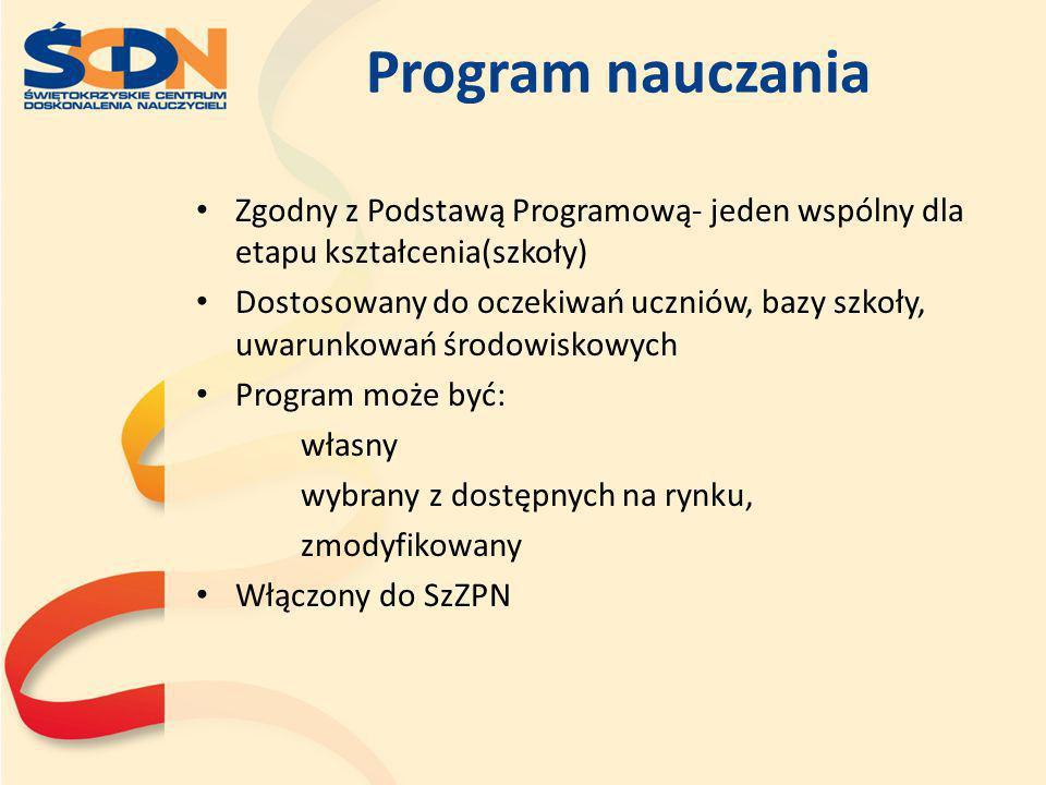 Program nauczania Zgodny z Podstawą Programową- jeden wspólny dla etapu kształcenia(szkoły)