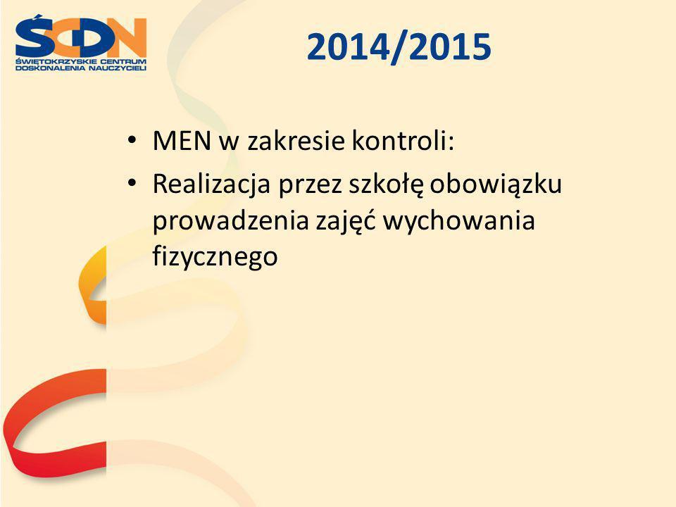 2014/2015 MEN w zakresie kontroli: