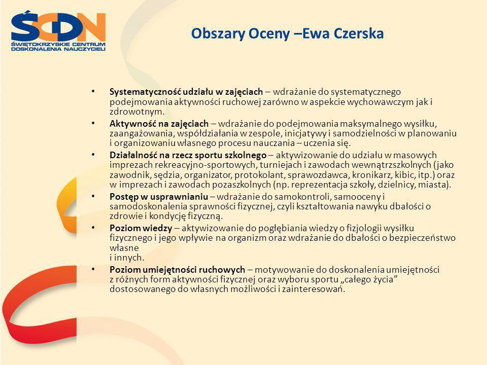 Obszary Oceny –Ewa Czerska