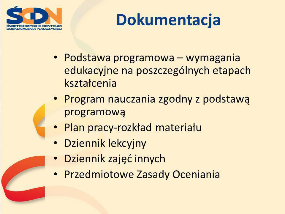 Dokumentacja Podstawa programowa – wymagania edukacyjne na poszczególnych etapach kształcenia. Program nauczania zgodny z podstawą programową.