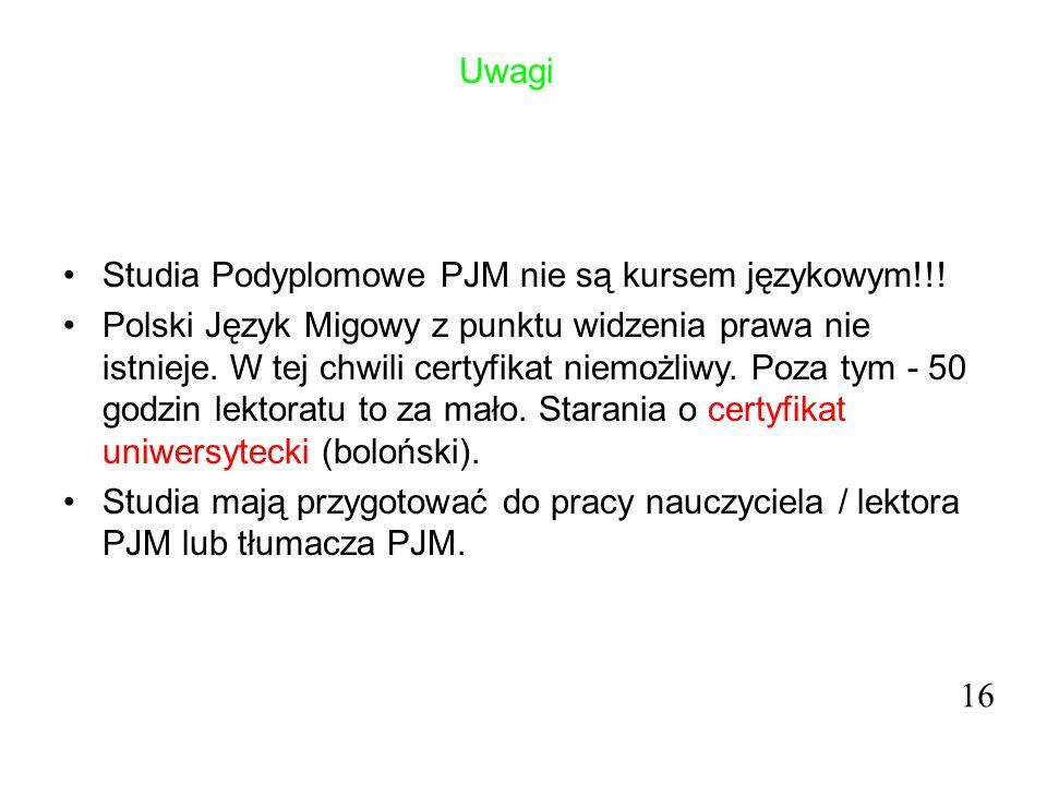 Uwagi Studia Podyplomowe PJM nie są kursem językowym!!!