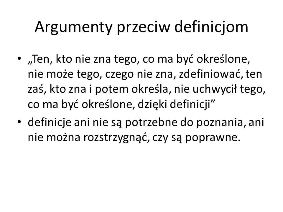 Argumenty przeciw definicjom