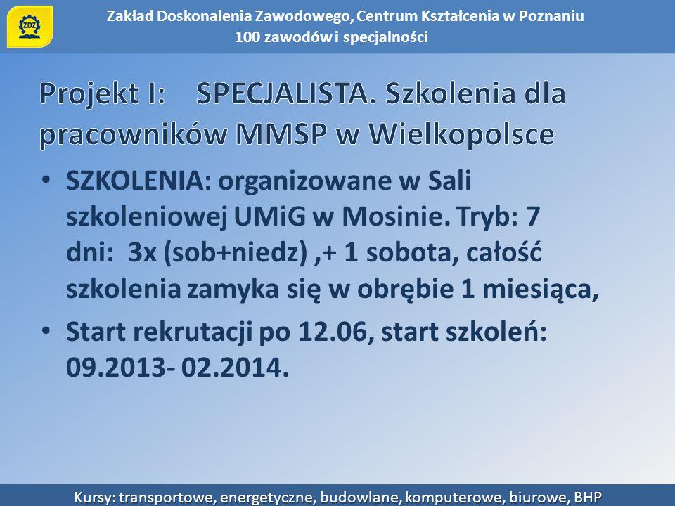 Projekt I: SPECJALISTA. Szkolenia dla pracowników MMSP w Wielkopolsce