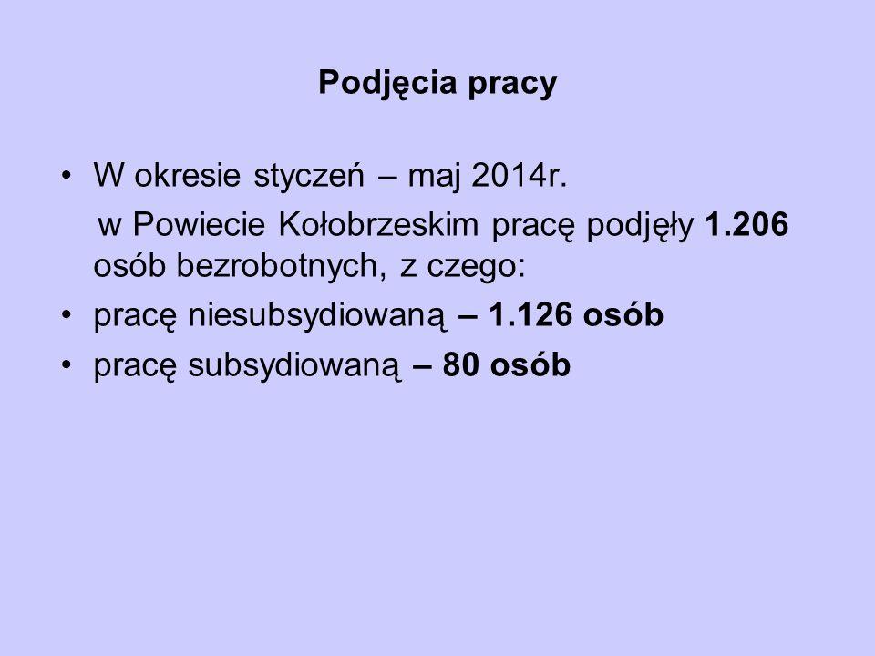 Podjęcia pracy W okresie styczeń – maj 2014r. w Powiecie Kołobrzeskim pracę podjęły 1.206 osób bezrobotnych, z czego:
