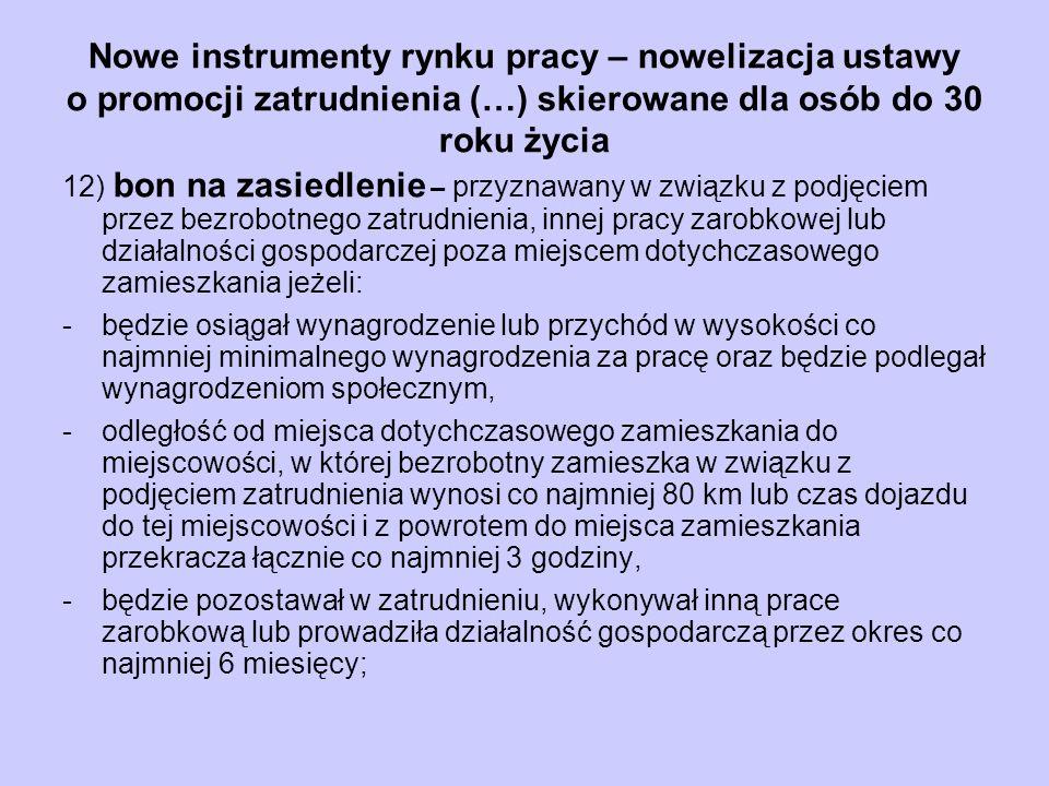Nowe instrumenty rynku pracy – nowelizacja ustawy o promocji zatrudnienia (…) skierowane dla osób do 30 roku życia