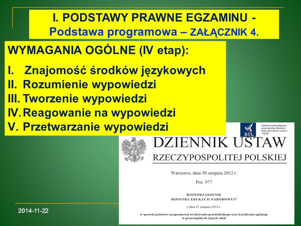 I. PODSTAWY PRAWNE EGZAMINU - Podstawa programowa – ZAŁĄCZNIK 4.