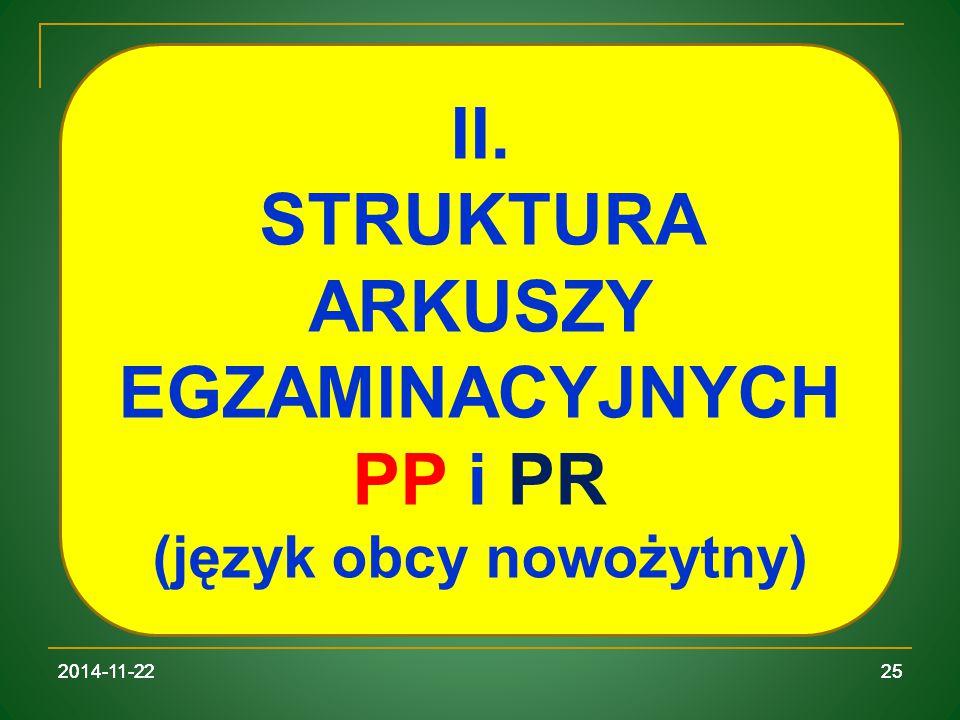 STRUKTURA ARKUSZY EGZAMINACYJNYCH (język obcy nowożytny)