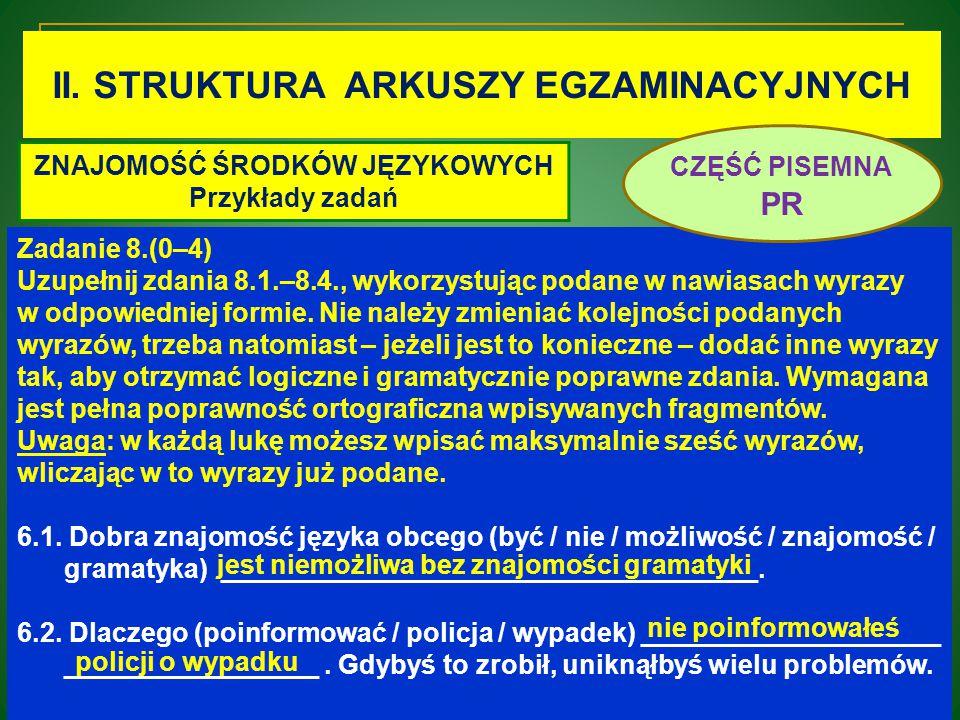 II. STRUKTURA ARKUSZY EGZAMINACYJNYCH