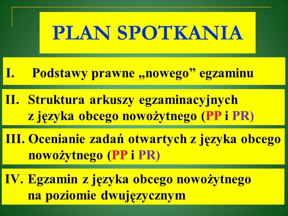 """PLAN SPOTKANIA Podstawy prawne """"nowego egzaminu"""