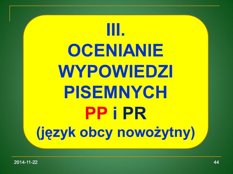 OCENIANIE WYPOWIEDZI PISEMNYCH (język obcy nowożytny)