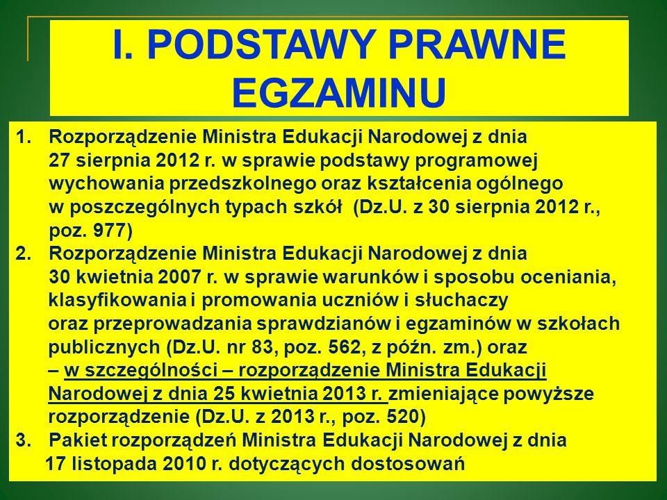 I. PODSTAWY PRAWNE EGZAMINU