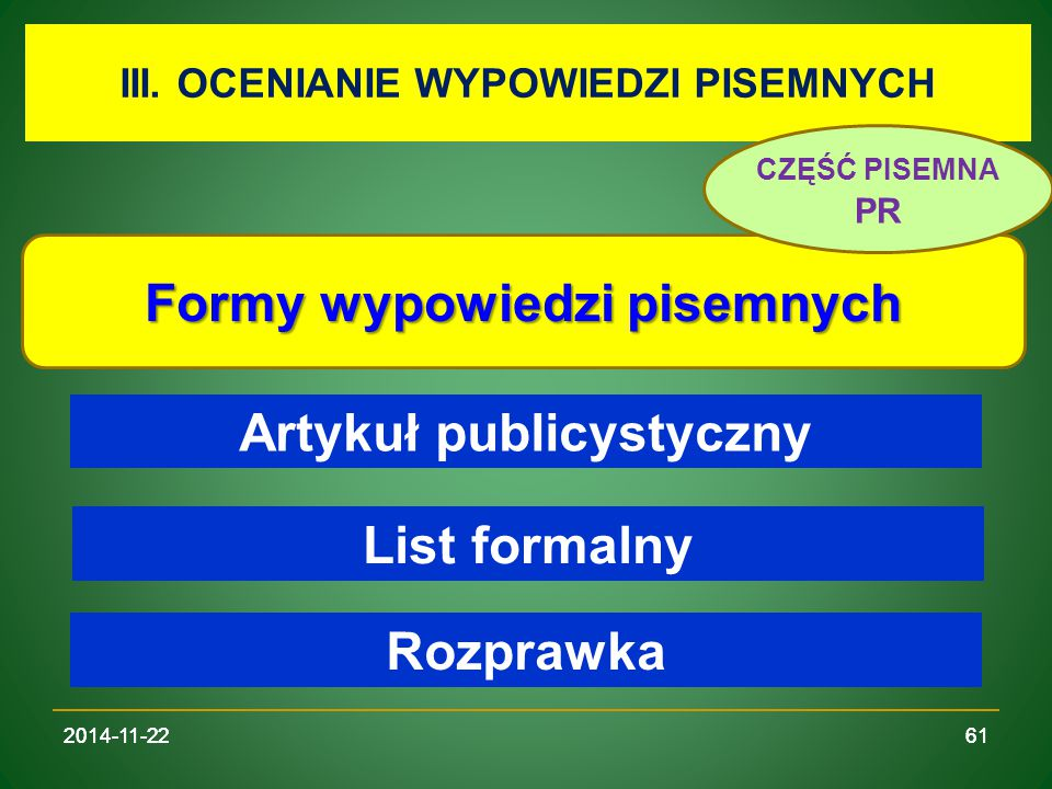 Formy wypowiedzi pisemnych