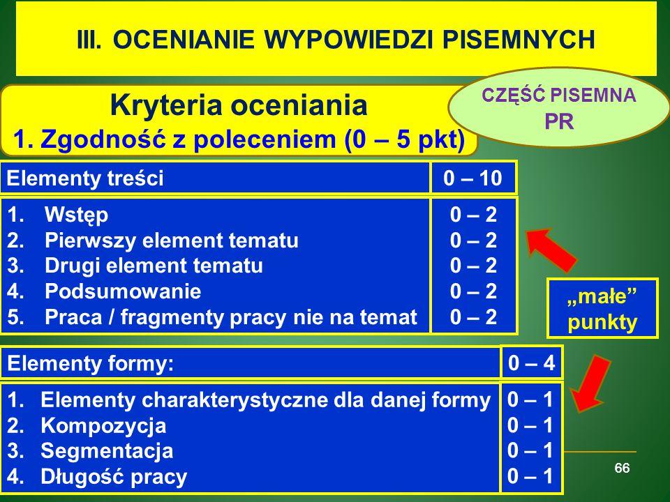 Kryteria oceniania III. OCENIANIE WYPOWIEDZI PISEMNYCH