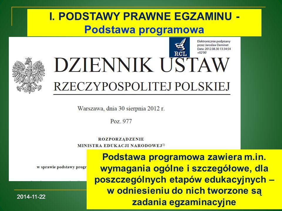 I. PODSTAWY PRAWNE EGZAMINU - Podstawa programowa