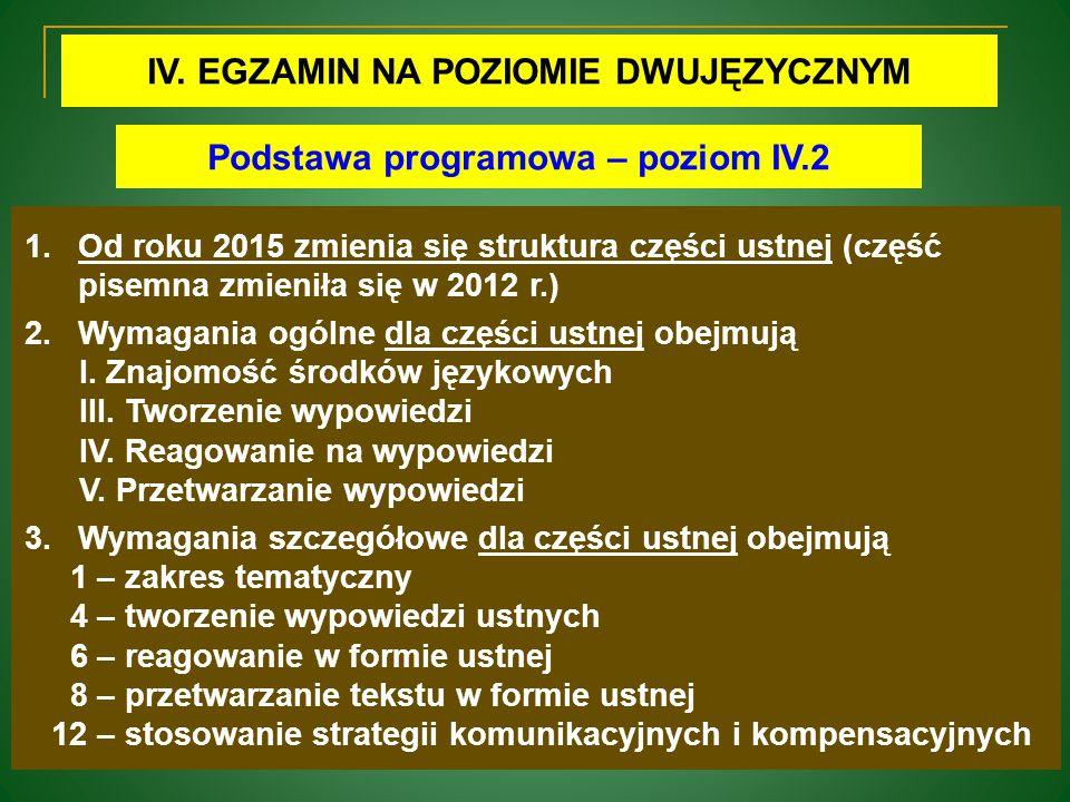 IV. EGZAMIN NA POZIOMIE DWUJĘZYCZNYM Podstawa programowa – poziom IV.2