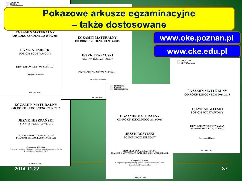 Pokazowe arkusze egzaminacyjne – także dostosowane