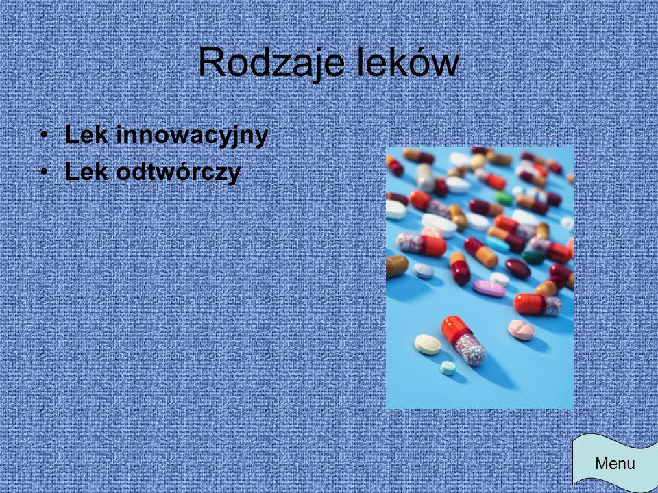 Rodzaje leków Lek innowacyjny Lek odtwórczy Menu