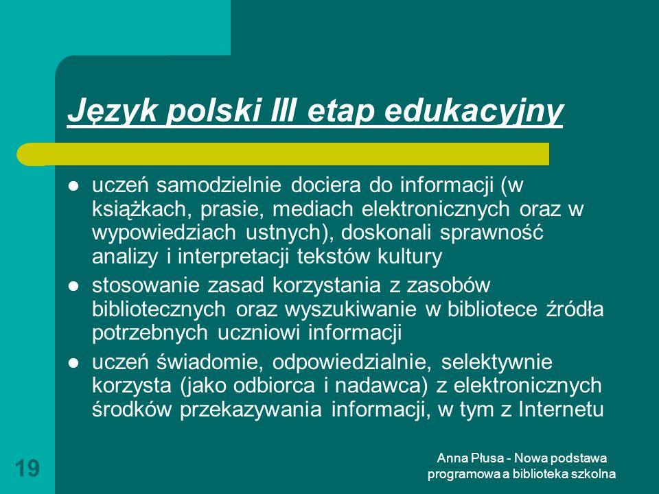 Język polski III etap edukacyjny