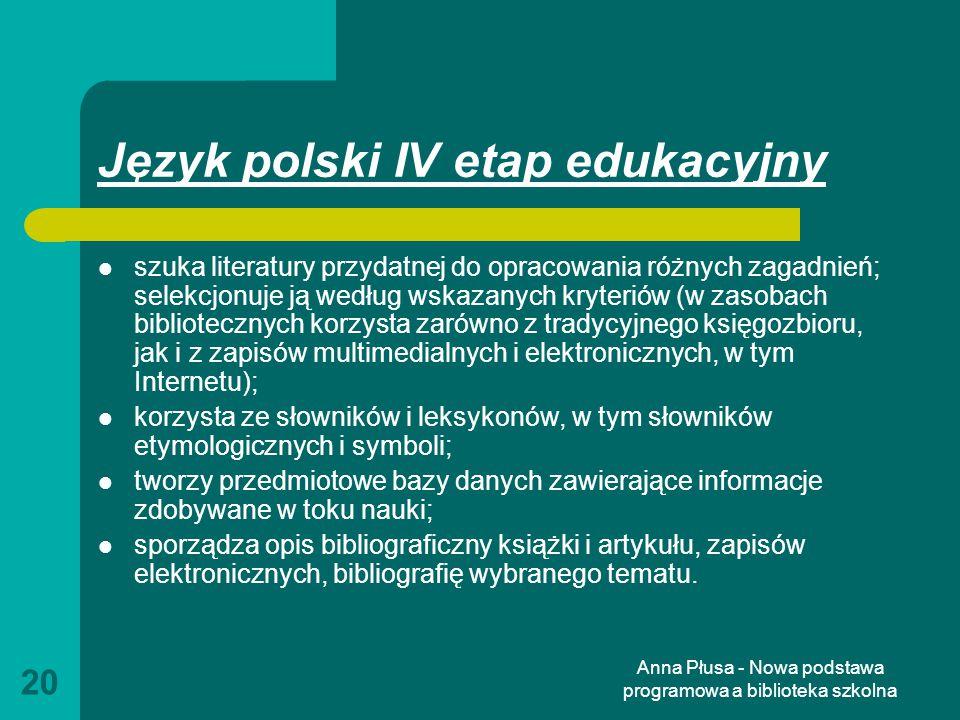 Język polski IV etap edukacyjny