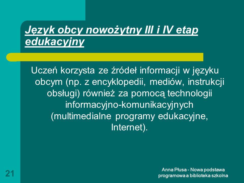 Język obcy nowożytny III i IV etap edukacyjny