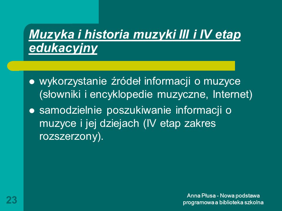 Muzyka i historia muzyki III i IV etap edukacyjny