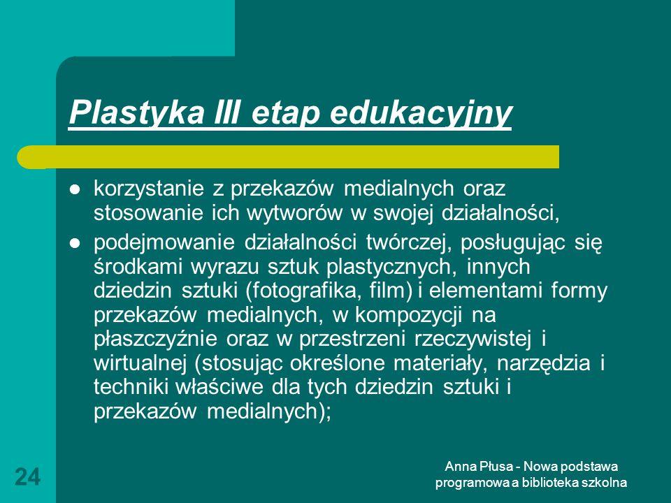 Plastyka III etap edukacyjny