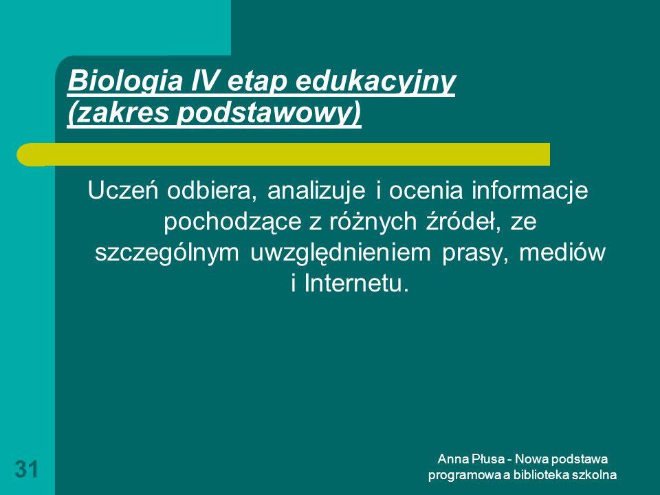 Biologia IV etap edukacyjny (zakres podstawowy)