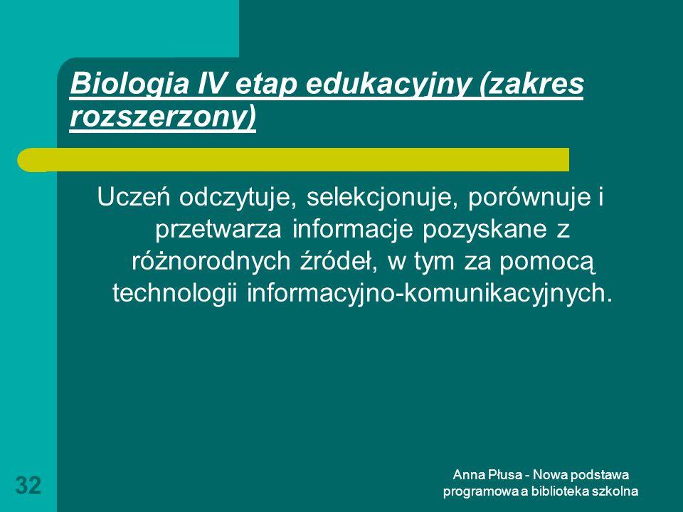 Biologia IV etap edukacyjny (zakres rozszerzony)