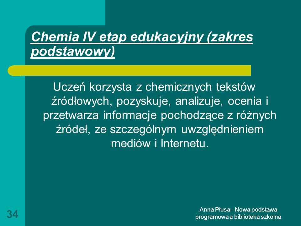 Chemia IV etap edukacyjny (zakres podstawowy)