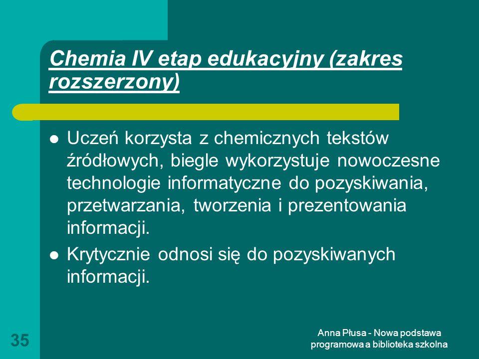 Chemia IV etap edukacyjny (zakres rozszerzony)