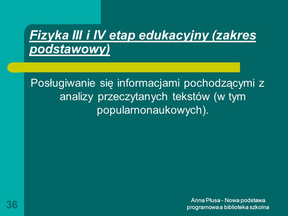 Fizyka III i IV etap edukacyjny (zakres podstawowy)