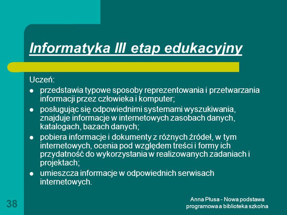 Informatyka III etap edukacyjny