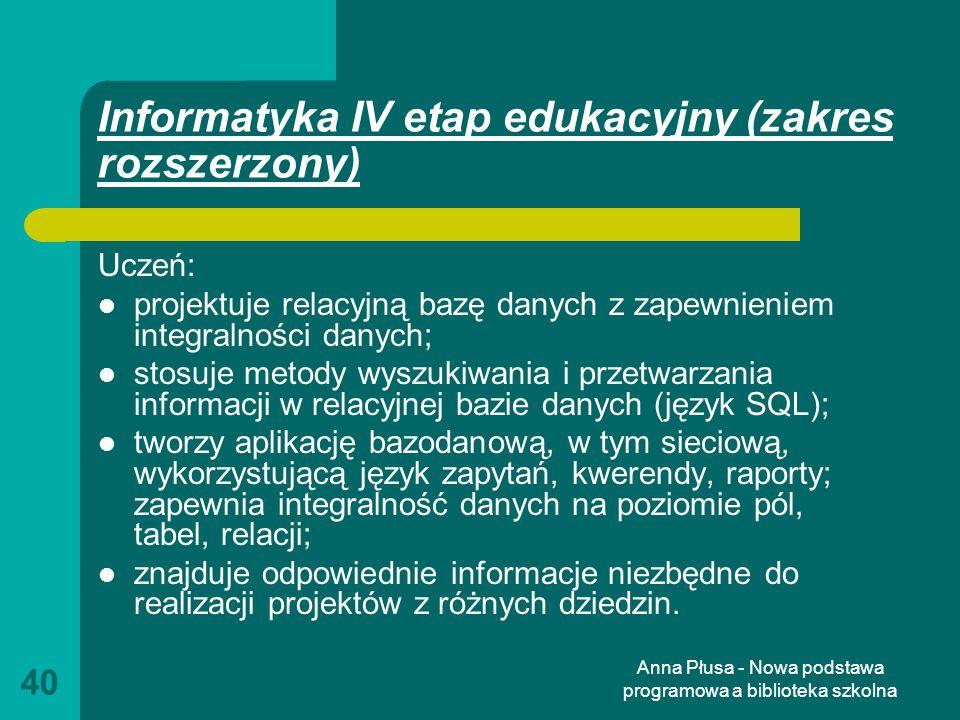 Informatyka IV etap edukacyjny (zakres rozszerzony)