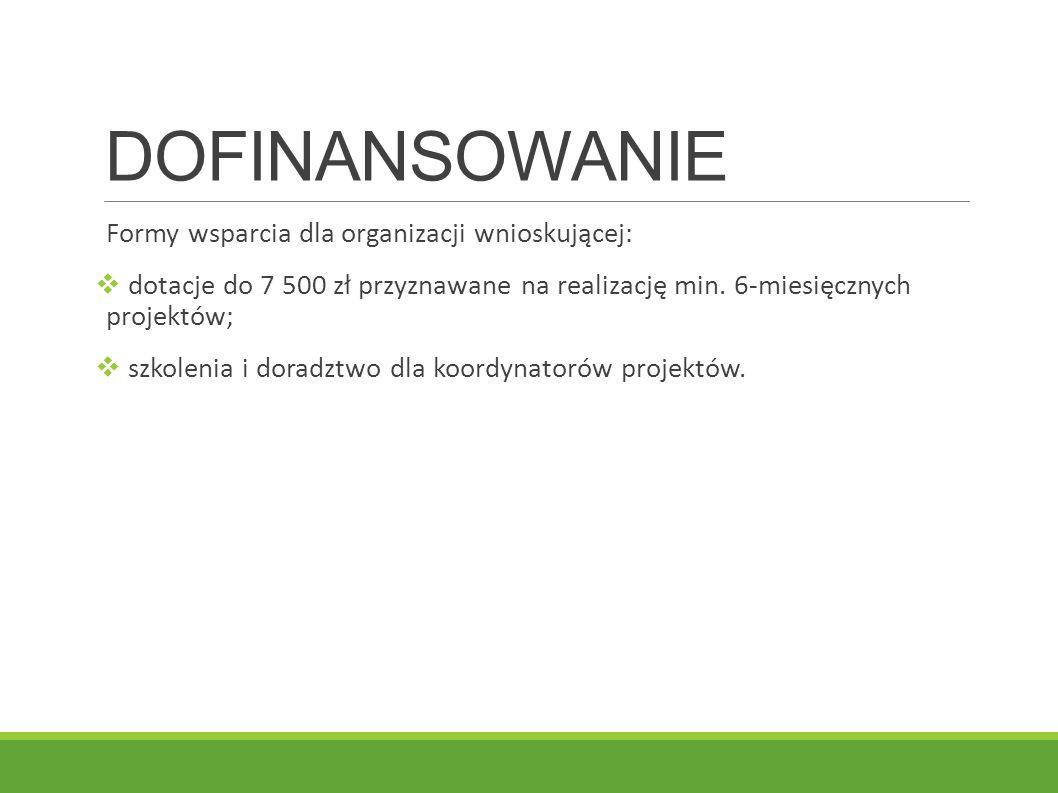 DOFINANSOWANIE Formy wsparcia dla organizacji wnioskującej: