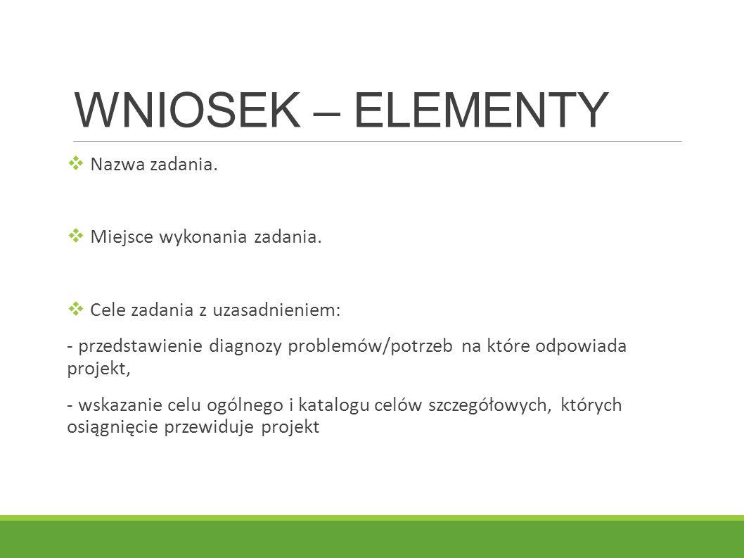 WNIOSEK – ELEMENTY Nazwa zadania. Miejsce wykonania zadania.