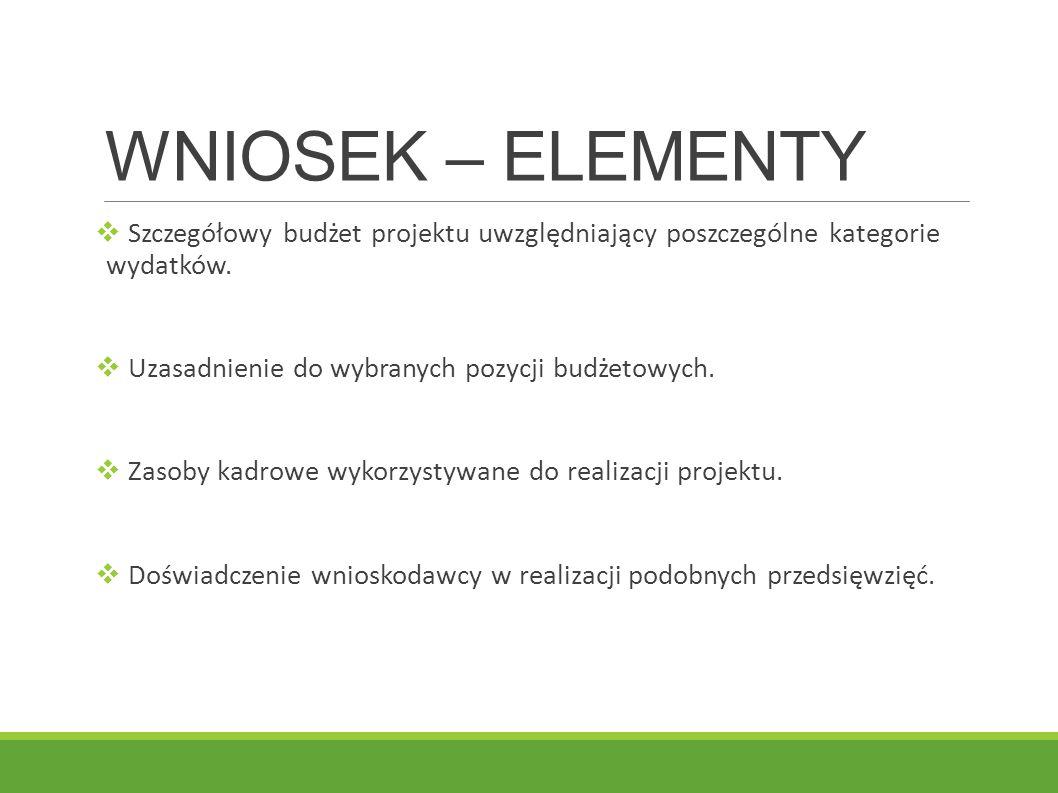 WNIOSEK – ELEMENTY Szczegółowy budżet projektu uwzględniający poszczególne kategorie wydatków. Uzasadnienie do wybranych pozycji budżetowych.