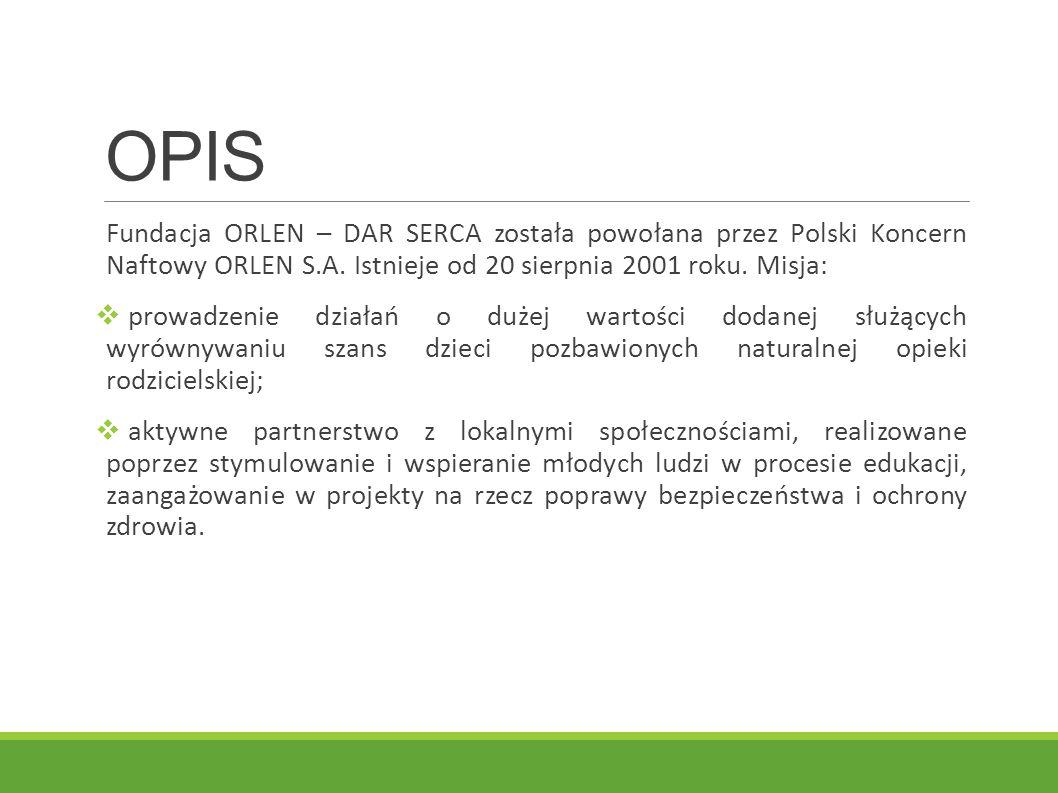 OPIS Fundacja ORLEN – DAR SERCA została powołana przez Polski Koncern Naftowy ORLEN S.A. Istnieje od 20 sierpnia 2001 roku. Misja:
