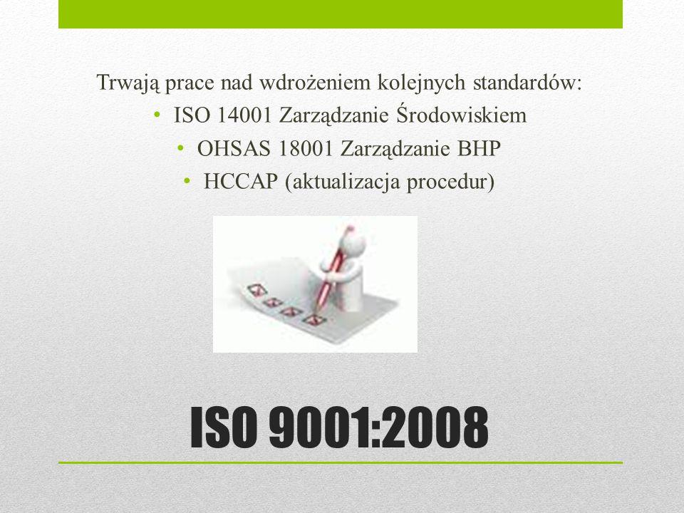 ISO 9001:2008 Trwają prace nad wdrożeniem kolejnych standardów: