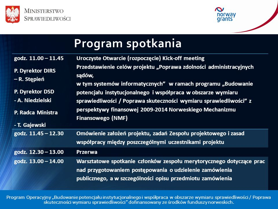 Program spotkania godz. 11.00 – 11.45 P. Dyrektor DIRS – R. Stępień