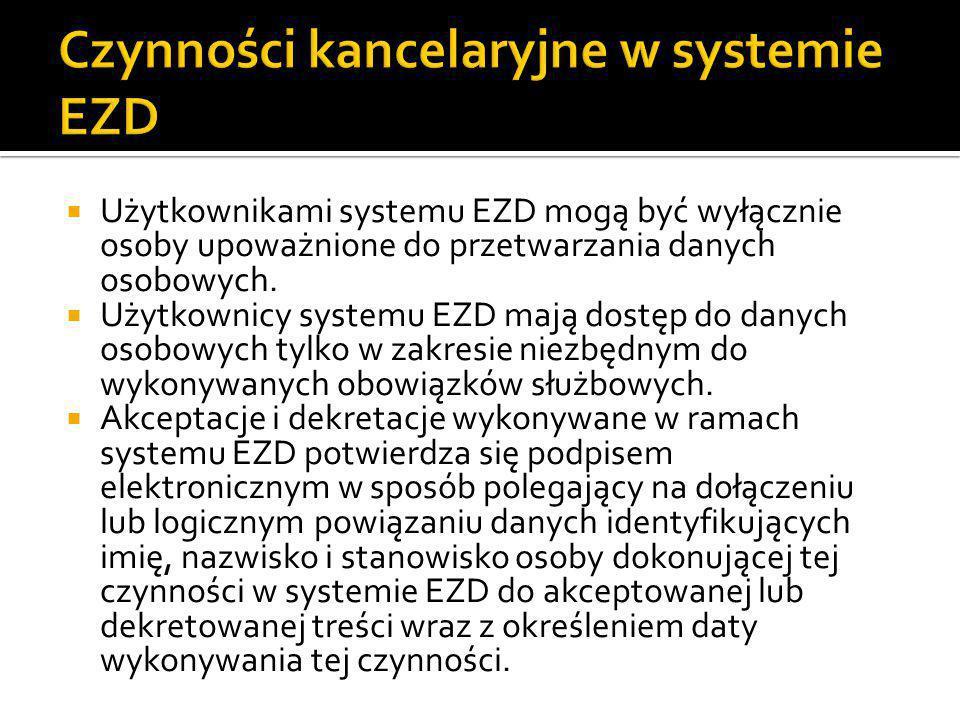 Czynności kancelaryjne w systemie EZD