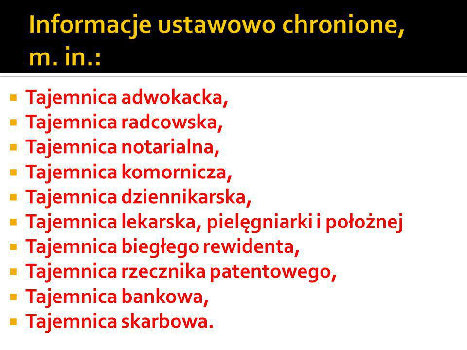 Informacje ustawowo chronione, m. in.: